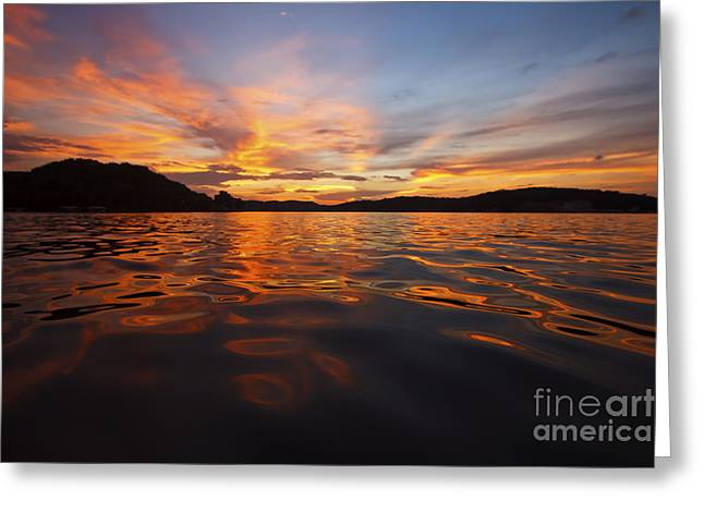 Boating Lake Greeting Cards - Ozark Sunset Greeting Card by Dennis Hedberg