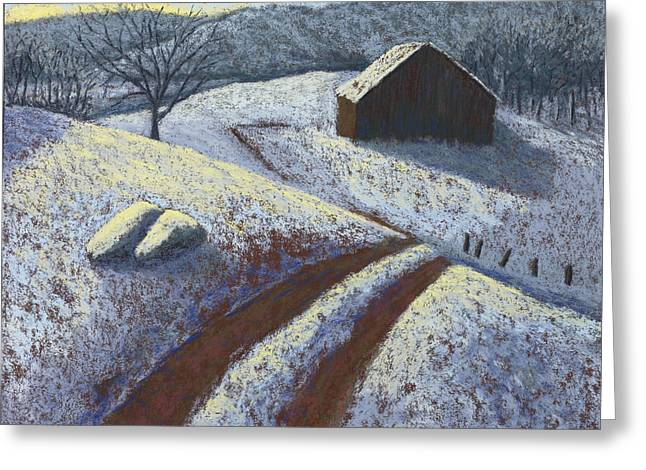 Winter Road Scenes Pastels Greeting Cards - Ozark Winter Barn Greeting Card by Garry McMichael