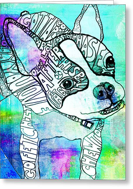 Boston Terrier Greeting Cards - Ozzy Boy Blues Greeting Card by Robin Mead
