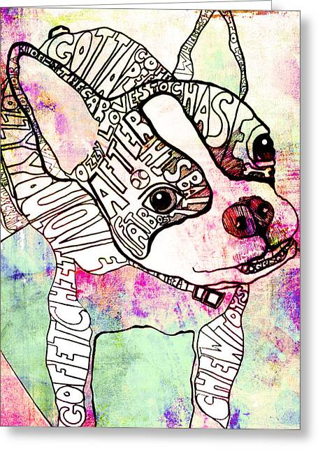 Boston Terrier Greeting Cards - Ozzy Boy Greeting Card by Robin Mead