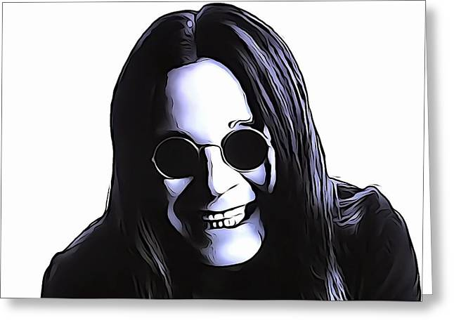 Rock N Roll Mixed Media Greeting Cards - Ozzy Greeting Card by Dan Sproul