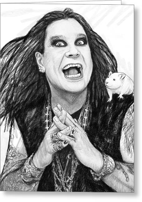 Lead Singer Greeting Cards - Ozzy osbourne art drawing sketch portrait Greeting Card by Kim Wang
