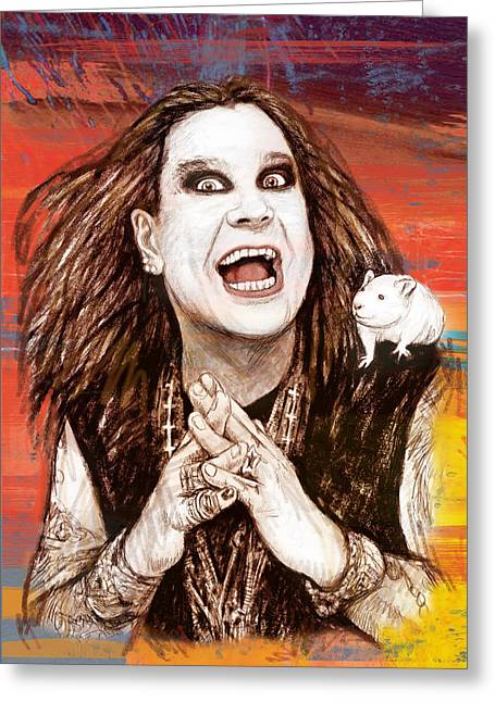 Lead Mixed Media Greeting Cards - Ozzy Osbourne long stylised drawing art poster Greeting Card by Kim Wang