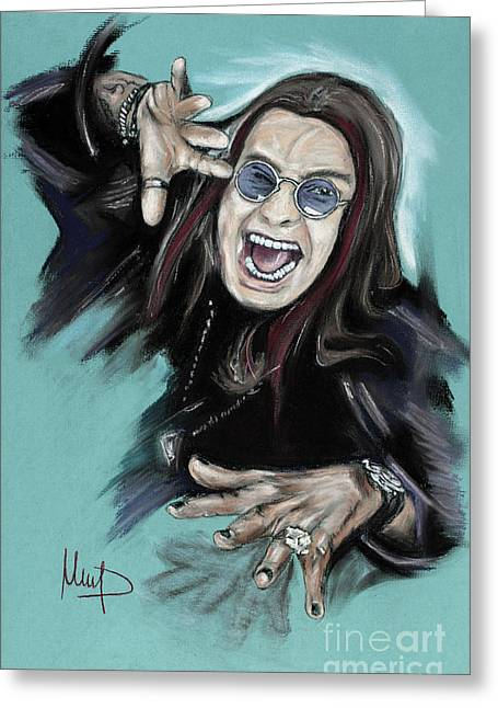 Singer Pastels Greeting Cards - Ozzy Osbourne Greeting Card by Melanie D