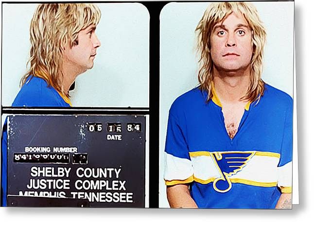 Recently Sold -  - Iron Greeting Cards - Ozzy Osbourne Mugshot Greeting Card by Bill Cannon