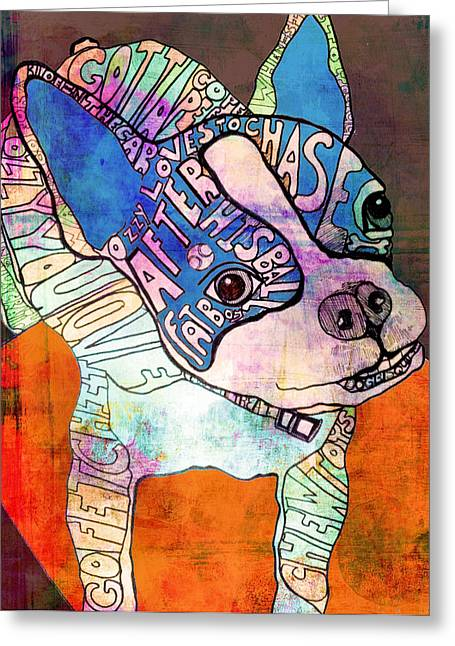 Boston Paintings Greeting Cards - Ozzy the Wonder Dog Greeting Card by Robin Mead