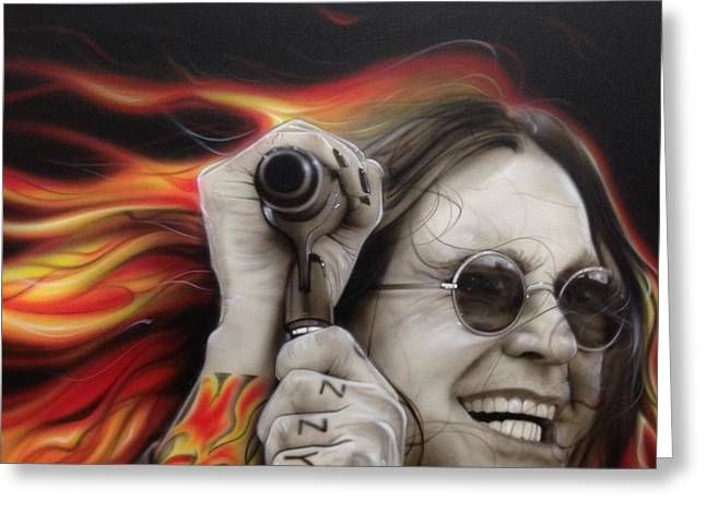 Ozzy Osbourne - ' Ozzy's Fire ' Greeting Card by Christian Chapman Art