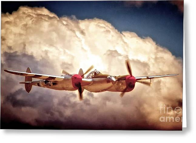 Planes Of Fame Greeting Cards - P-38 Dancin With the Lightning Greeting Card by Gus McCrea