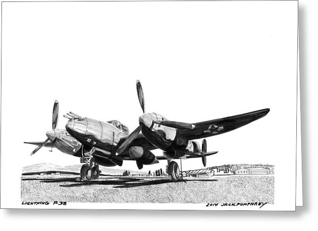 Number Drawings Greeting Cards - P 38 Lightning Greeting Card by Jack Pumphrey