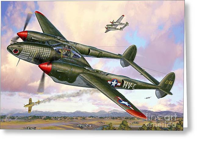 Husky Greeting Cards - P-38F Lightning Sicilian Summer Greeting Card by Stu Shepherd