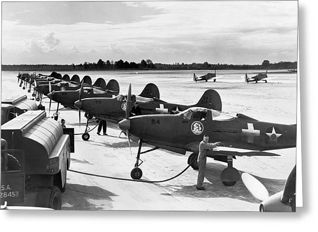 Us Army Air Corp Greeting Cards - P-39 Airacobra Fighter Planes Greeting Card by Underwood Archives