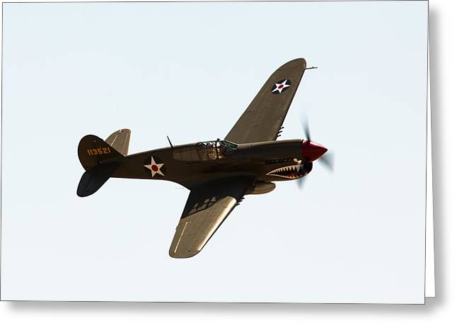 Olive Drab Greeting Cards - P-40 Greeting Card by John Daly