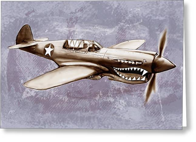 Auto-portrait Greeting Cards - P 40 N Warhawk airplane in world war 2 - Stylised modern drawing art sketch Greeting Card by Kim Wang