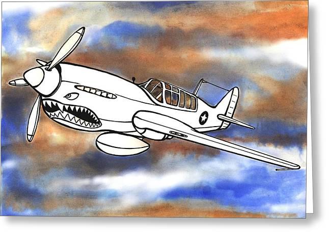 Scott Nelson Mixed Media Greeting Cards - P-40 Warhawk 1 Greeting Card by Scott Nelson