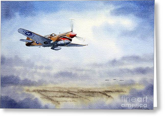Bomber Escort Greeting Cards - P-40 Warhawk Greeting Card by Bill Holkham