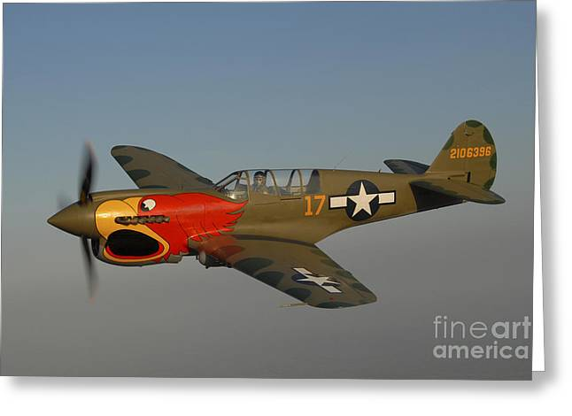Curtiss Kittyhawk P-40 Greeting Cards - P-40 Warhawk Flying Over Chino Greeting Card by Phil Wallick