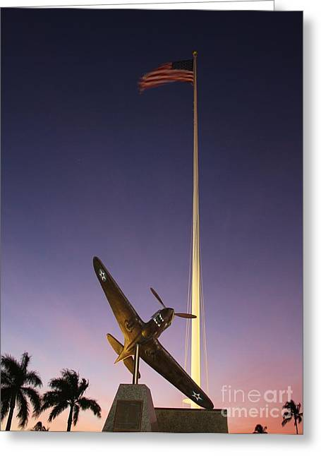 Hickam Greeting Cards - P-40 Warhawk Memorial Greeting Card by Craig Wood