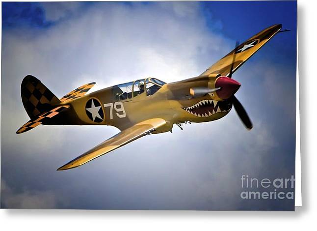 Planes Of Fame Greeting Cards - P-40 Warhawk No. 79 Greeting Card by Gus McCrea