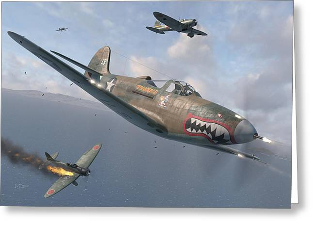 Fighter Aircraft Greeting Cards - P-400 Hells Bells Greeting Card by Robert Perry