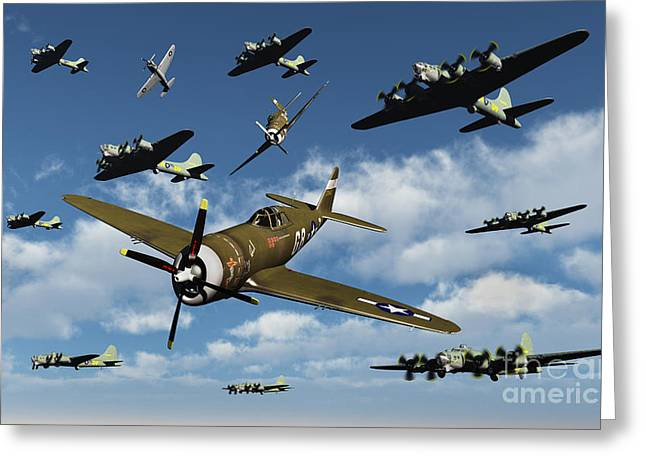 Bomber Escort Greeting Cards - P-47 Thunderbolts Escorting B-17 Flying Greeting Card by Stocktrek Images