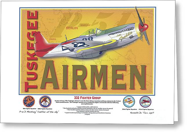 Tuskegee Airman Greeting Cards - P-51 D Tuskegee Airmen Greeting Card by Kenneth De Tore