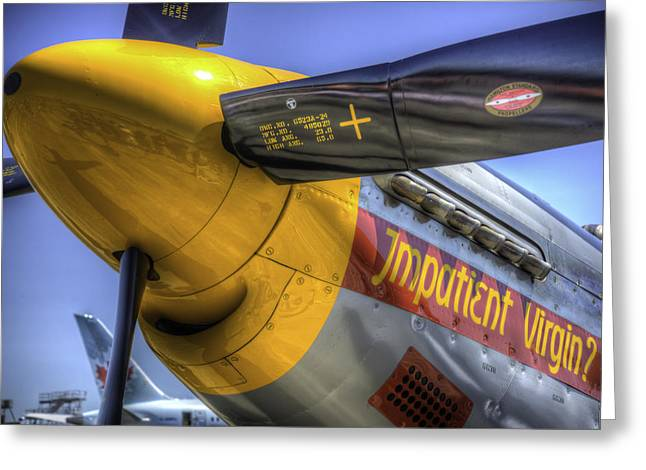 P-51 Impatient Virgin Greeting Card by Spencer McDonald