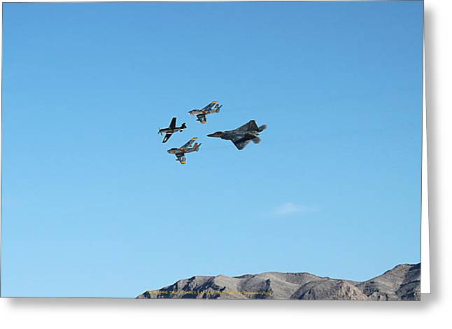 P-51 Mustang Photographs Greeting Cards - P-51 Mustang  F-86 Sabres  F-22 Raptor In Flight Greeting Card by Carl Deaville