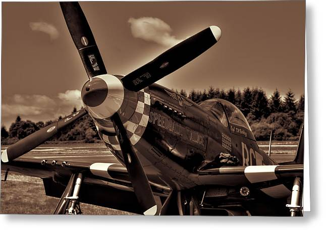 Speedball Greeting Cards - P-51 Mustang Fighter Greeting Card by David Patterson