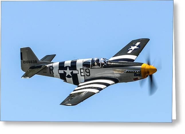 P-51 Mustang Photographs Greeting Cards - P-51 Mustang Fighter Greeting Card by Puget  Exposure