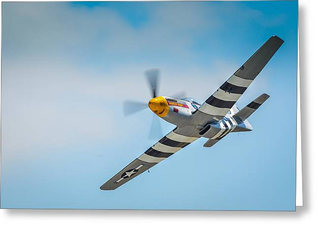 P-51 Mustang Photographs Greeting Cards - P-51 Mustang Low Pass Greeting Card by Puget  Exposure