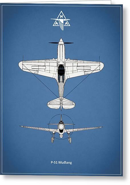 Mustang Greeting Cards - P-51 Mustang Greeting Card by Mark Rogan
