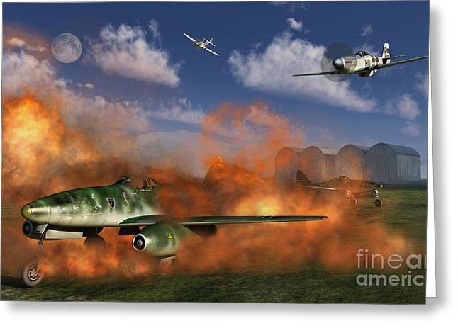 Turbojet Greeting Cards - P-51 Mustang Planes Attacking A German Greeting Card by Mark Stevenson