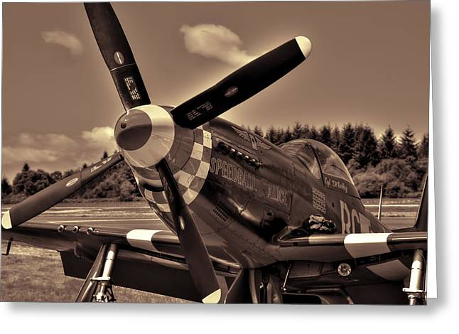 Speedball Greeting Cards - P-51 Mustang Speedball Alice Fighter Greeting Card by David Patterson