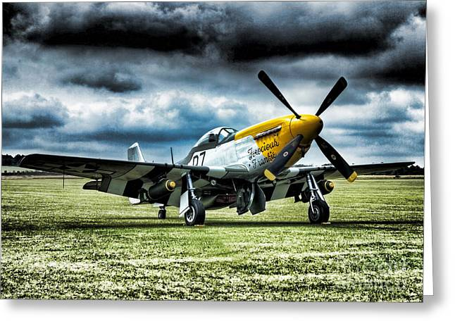 Ferocious Frankie Greeting Cards - P-51b Mustang Ferocious Frankie Greeting Card by Peter Chapman