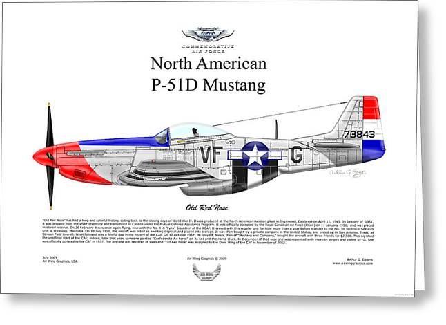 Steve Eggers Greeting Cards - P-51D Mustang Old Red Nose Greeting Card by Arthur Eggers