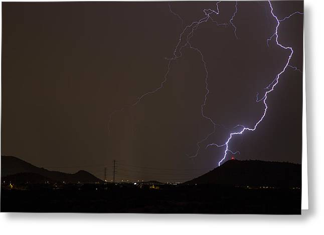 Arizona Lightning Greeting Cards - Up Close and Personal Greeting Card by Cathy Franklin