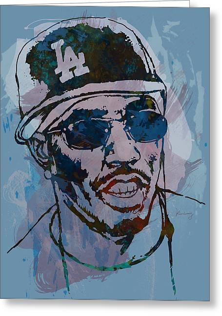 Daddy Greeting Cards - P Diddy - Stylised Etching Pop Art Poster Greeting Card by Kim Wang