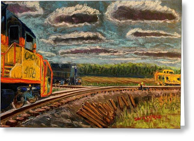 Caboose Pastels Greeting Cards - P M to follow #91 Greeting Card by Tim  Swagerle