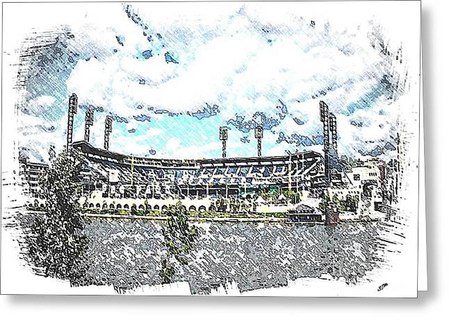 Pnc Park Mixed Media Greeting Cards - P N C  Park Greeting Card by Spencer McKain