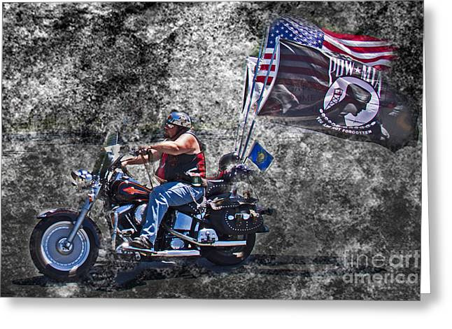 Stars And Strips Greeting Cards - P O W -- M I A Biker Greeting Card by Tom Gari Gallery-Three-Photography
