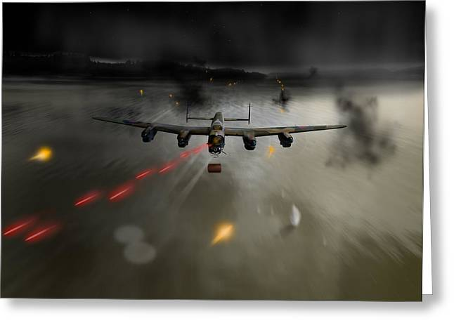 617 Squadron Greeting Cards - P-Popsie attacking the Mohne Dam Greeting Card by Gary Eason