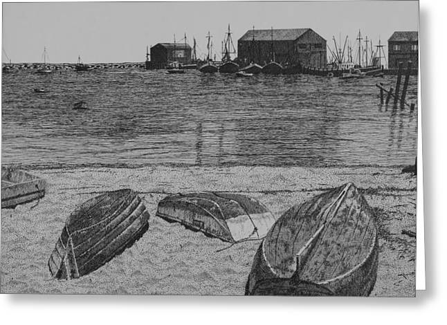 New England Ocean Drawings Greeting Cards - P-Town Boats Greeting Card by Christine Brunette