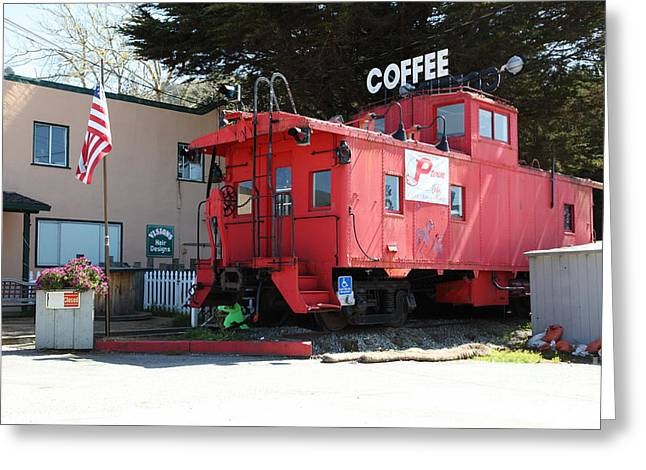Bayarea Greeting Cards - P Town Cafe Caboose Pacifica California 5D22659 Greeting Card by Wingsdomain Art and Photography