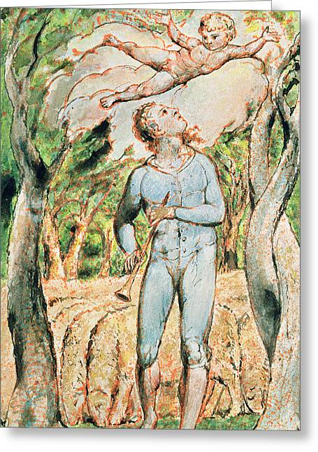 William Drawings Greeting Cards - P.124-1950.ptl Frontispiece To Songs Greeting Card by William Blake