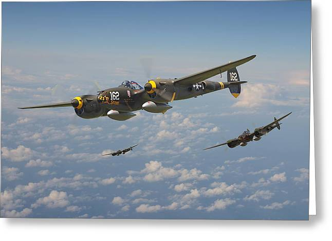 P38 Lightning - Pacific Patrol Greeting Card by Pat Speirs