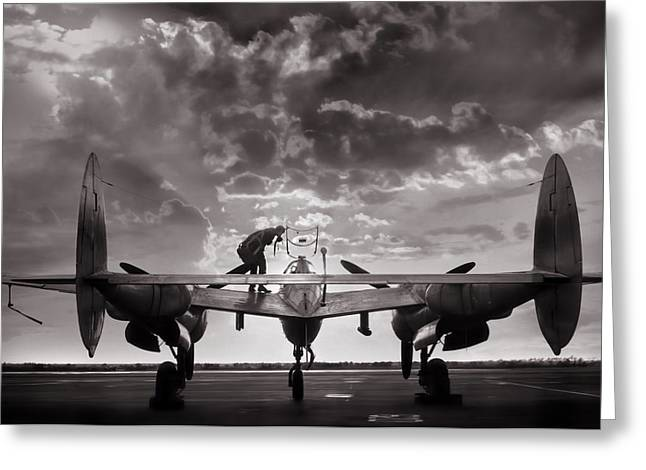 Vintage Aircraft Greeting Cards - P38 Sunset Mission Greeting Card by Peter Chilelli