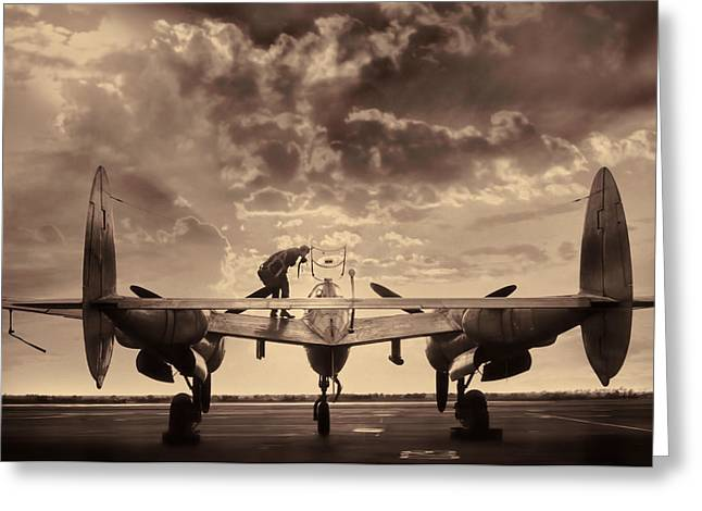 Vintage Aircraft Greeting Cards - P38 Sunset Mission V2 Greeting Card by Peter Chilelli