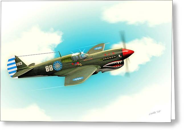 Chinese Tiger Greeting Cards - P40 Warhawk in flight Greeting Card by John Wills