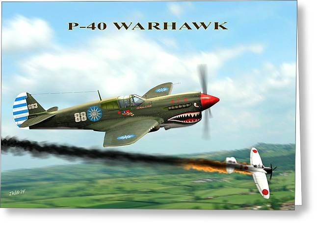 Flying Tigers Greeting Cards - P40 Warhawk Greeting Card by John Wills