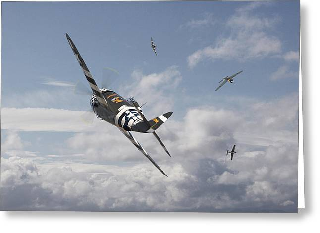 Thunderbolt Greeting Cards - P47- FW190 - Carousel Greeting Card by Pat Speirs